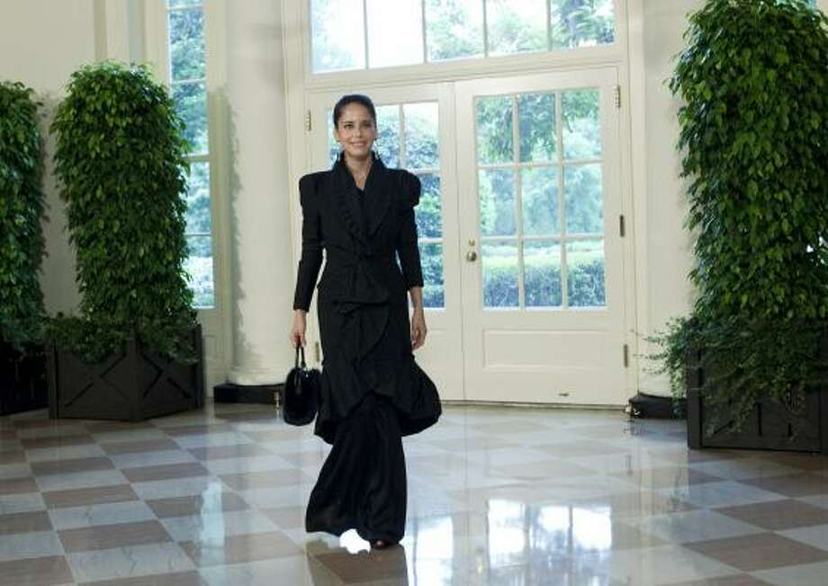 Actor Ana Claudia Talancon arrives at the White House. Photo: Brendan Smialowski, Getty Images