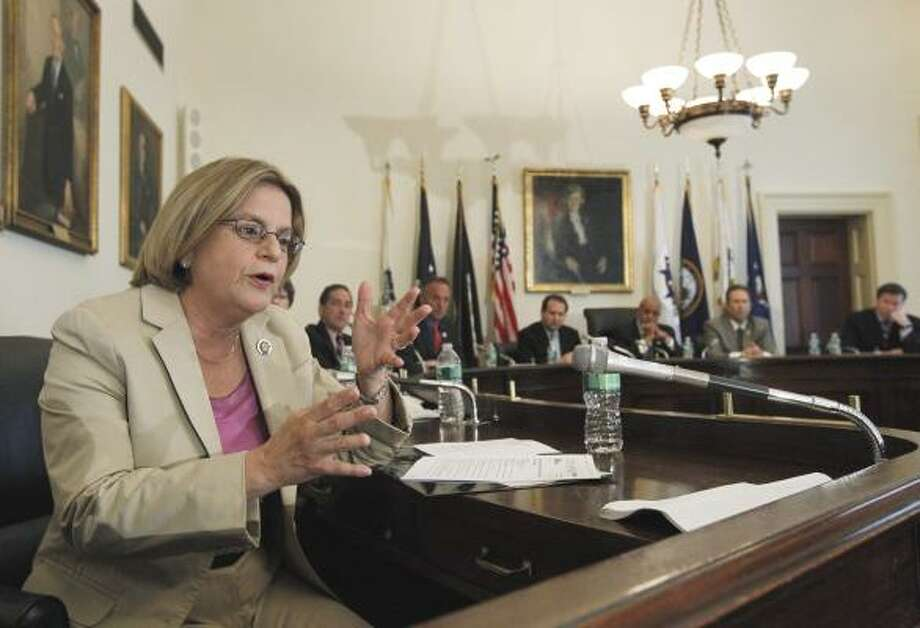 Rep. Ileana Ros-Lehtinen, R-Fla., speaks during a  delegation meeting to discuss the oil spill in the Gulf of Mexico. Photo: Manuel Balce Ceneta, AP