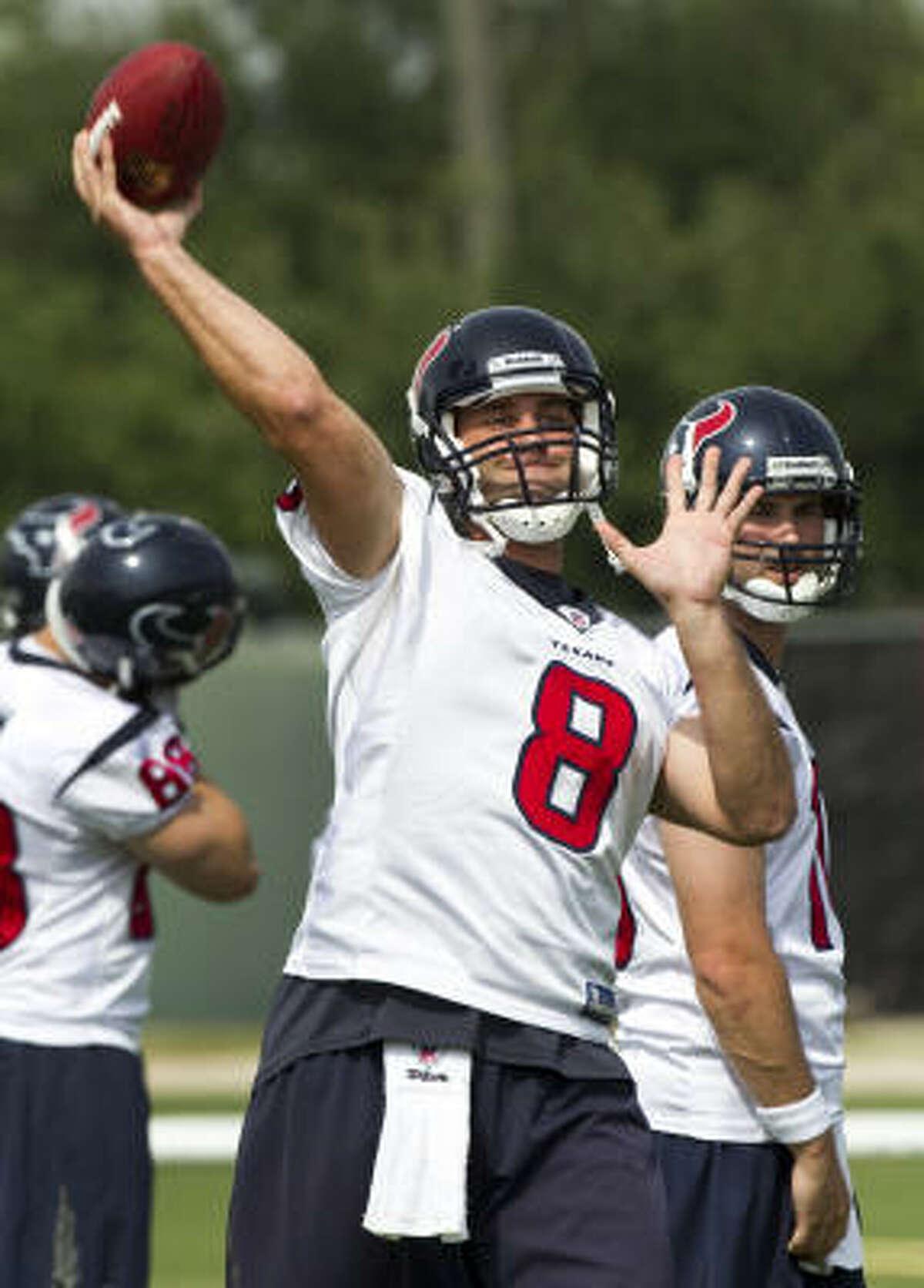Texans quarterback Matt Schaub throws a pass during Tuesday's organized team activities. Schaub is coming off a career-high 4,770 yards and 29 touchdowns last season.