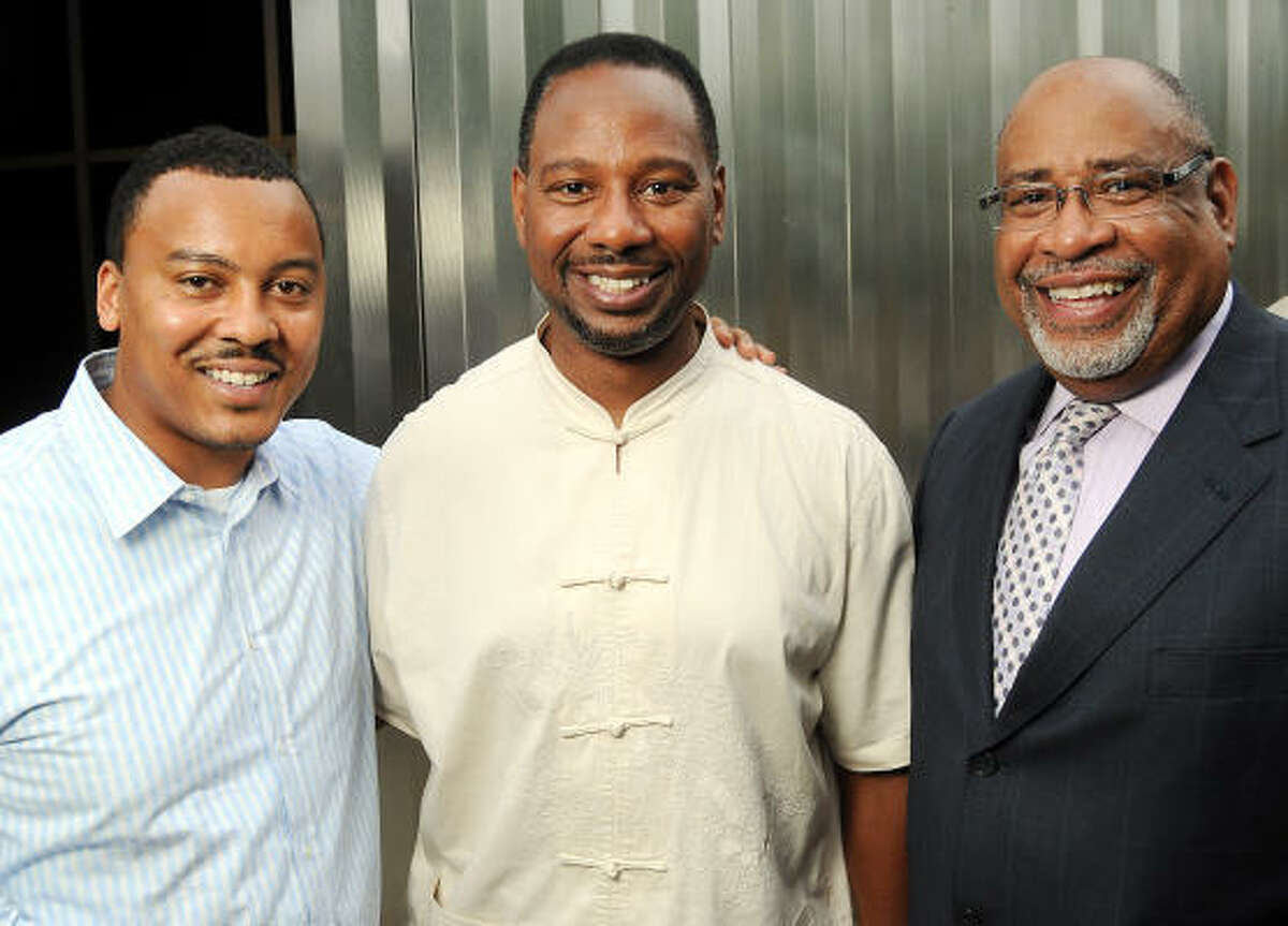 From left: Malcolm Sykes, Lenny Jones and Forde McWilliams at Champagne & Ribs at the Contemporary Arts Museum Houston.