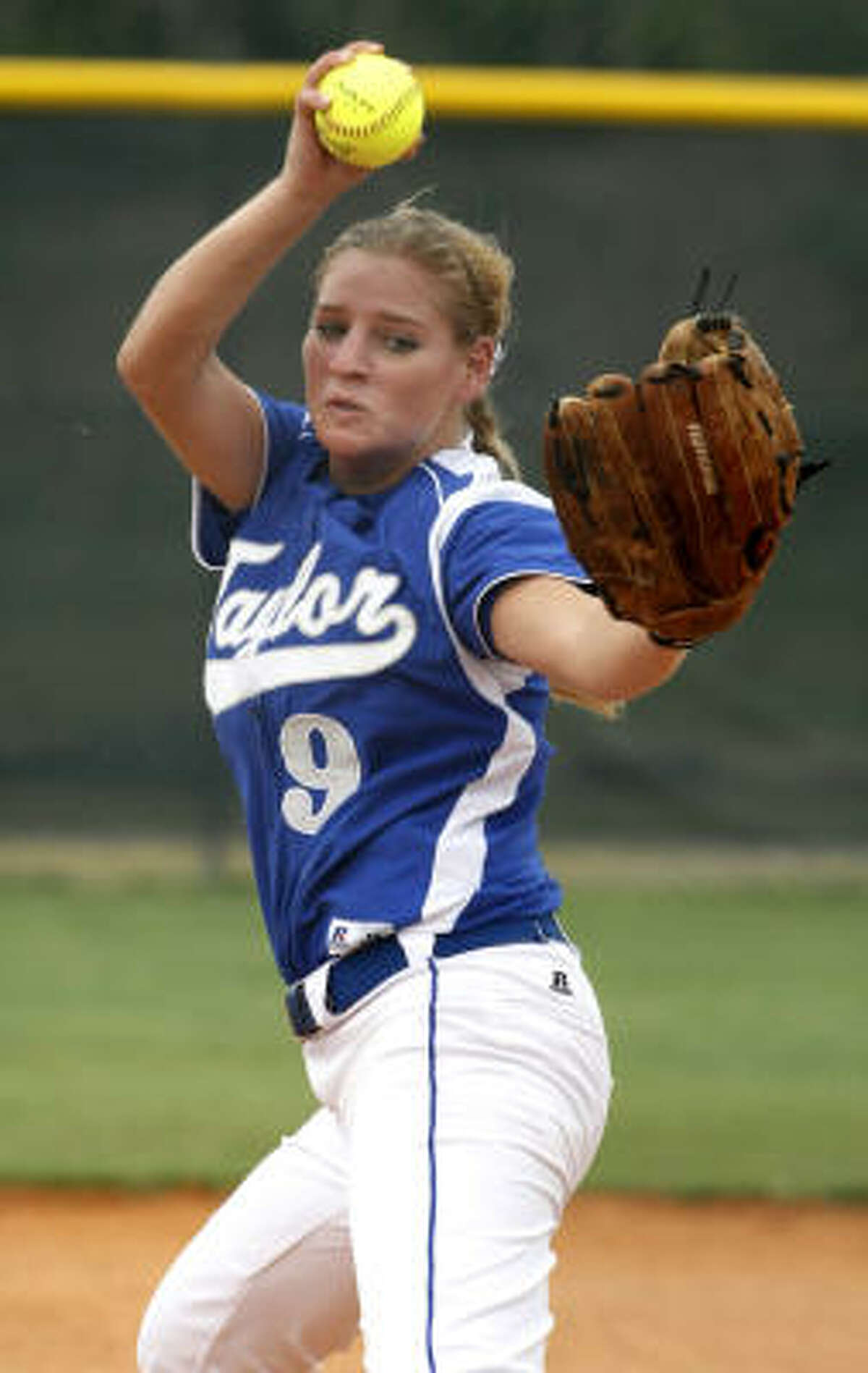 Katy Taylor pitcher Callie Lazarine delivers a pitch in the third inning.