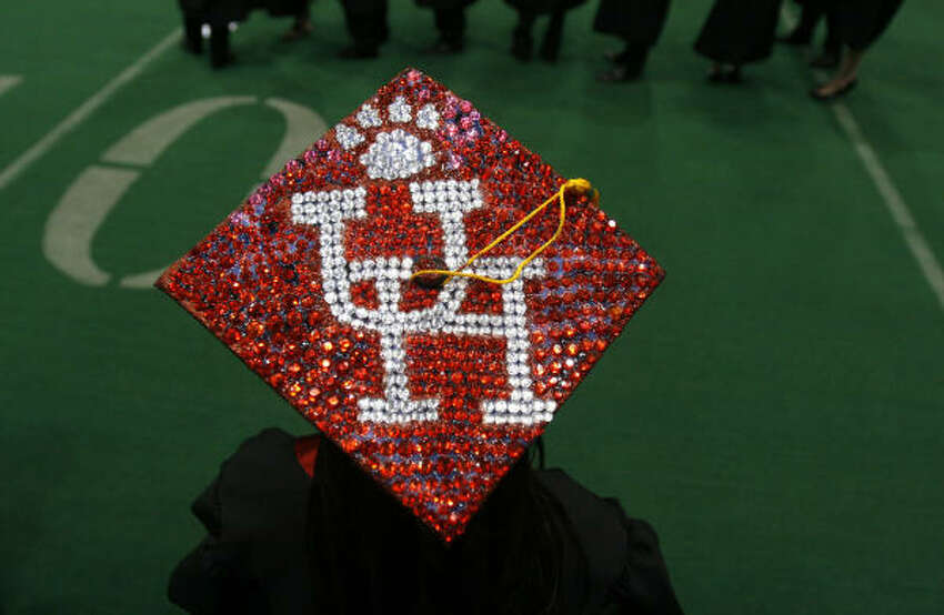 Receiving a B.S. in biology, Jessica Williams, 22, of Greenville, said she spent more than three hours decorating her graduation cap, which stood out before the University of Houston commencement ceremony.
