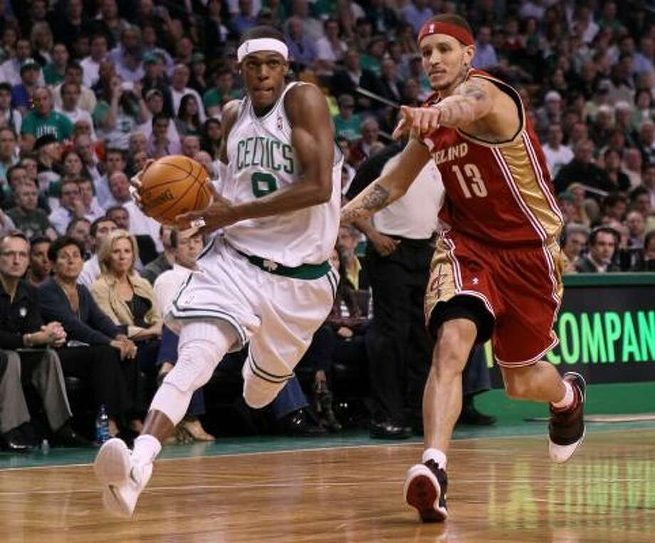 Game 6: Celtics 94, Cavaliers 85 Celtics guard Rajon Rondo scored 21 points, 12 assists and five steals to help Boston eliminate the Cavaliers. Photo: Elsa, Getty Images