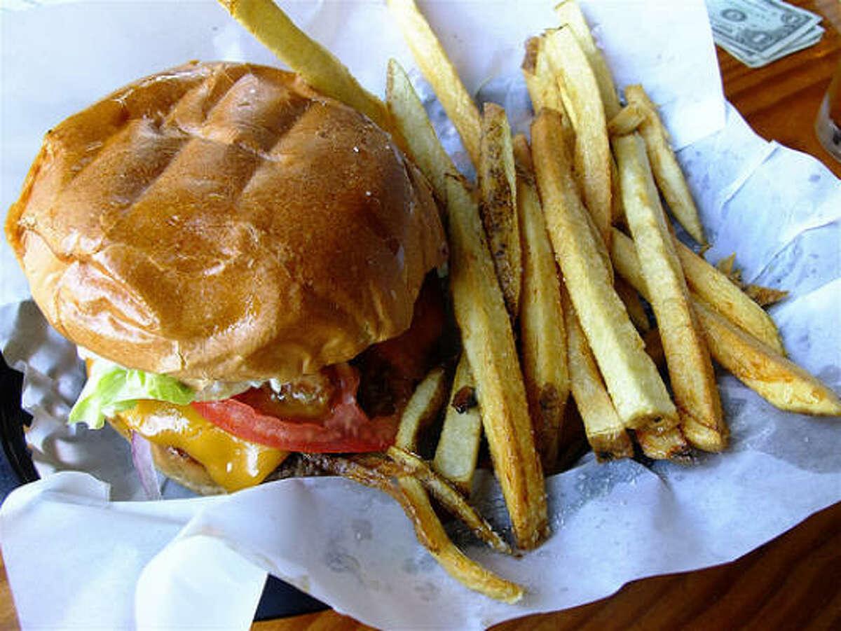 Cheeseburger basket with fresh-cut fries, Petrol Station.