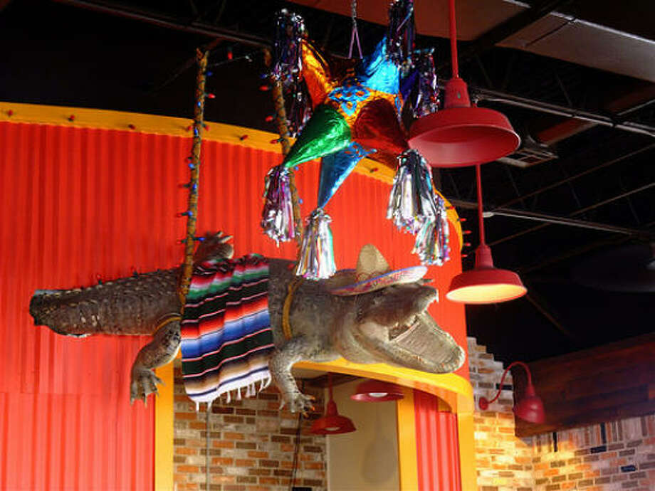 Why is this gator wearing a sombrero & a serape?  Only the owners of Little Santos know for sure. Photo: Alison Cook, Chronicle