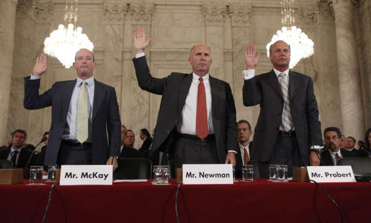 From left to right, Lamar McKay of BP American, Steven Newman of Transocean Limited and Tim Probert of Halliburton, testify before the Senate Committee on Energy and Natural Resources, on Capitol Hill in Washington today.