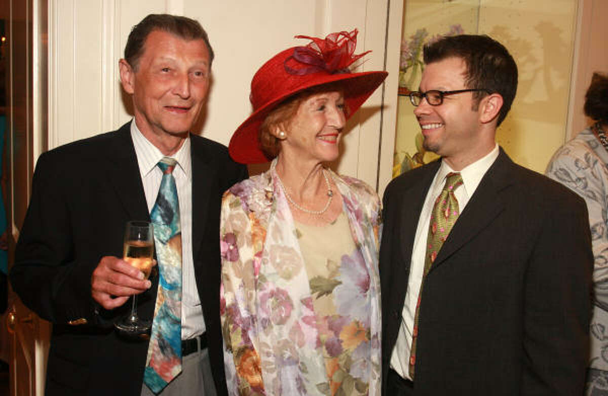 Peter Skroch, from left, Susanna Brundrett and Alan Austin at the Moores School of Music Society's annual spring luncheon.
