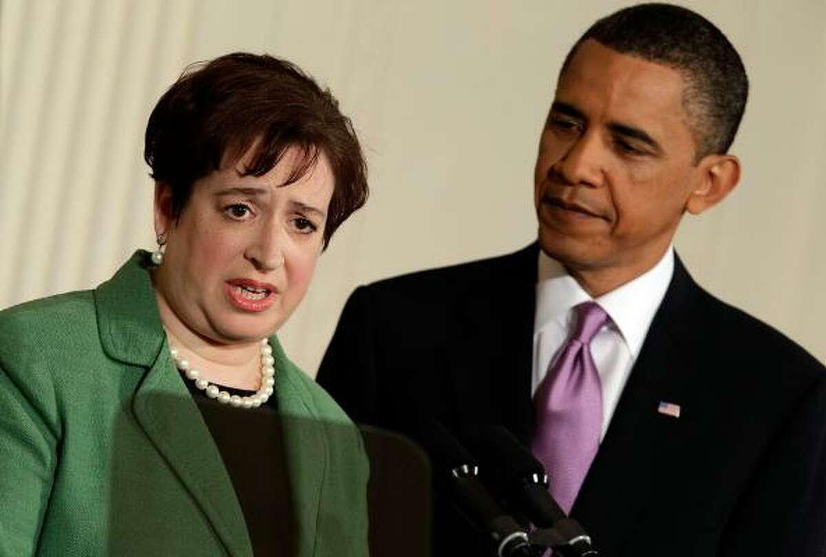 President Obama listens to Solicitor General Elena Kagan after introducing her as his choice to be the nation's 112th Supreme Court justice during an event in the East Room of the White House May 10, 2010 in Washington, DC.