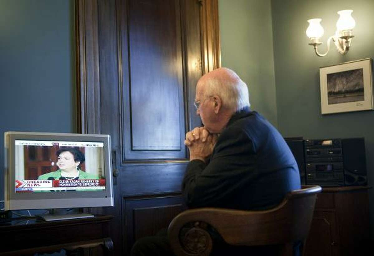 Senate Judiciary Committee Chairman Sen. Patrick Leahy (D-Vt.) watches from his office as President Obama introduces his Supreme Court nominee Elena Kagan on Capitol Hill May 10, 2010 in Washington, DC.