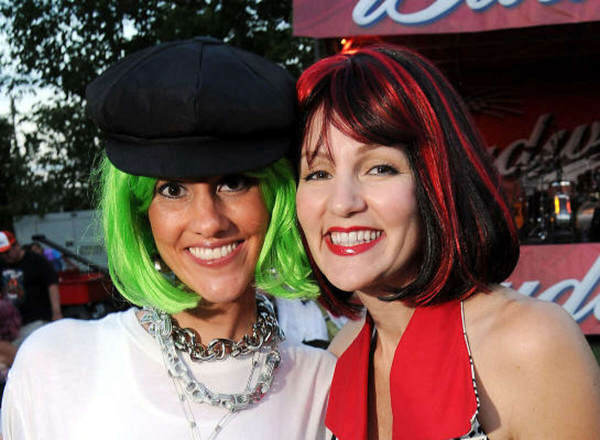 Lane Schultz and Kara Samples at the 2010 Art Car Ball at the Orange Show Monument & Warehouse.