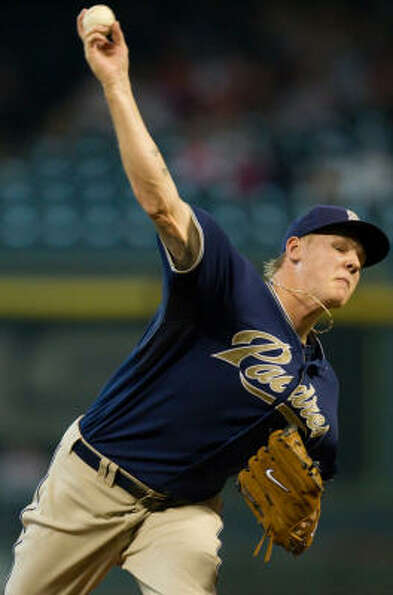 Padres starter Mat Latos shut out the Astros over eight innings, allowing only two hits and no walks