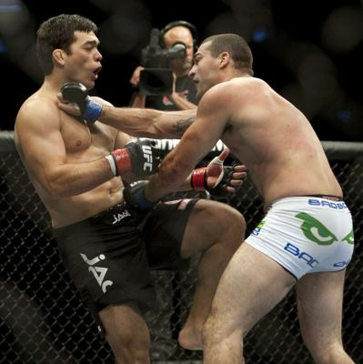 Mauricio Rua connects during his fight against Lyoto Machida.