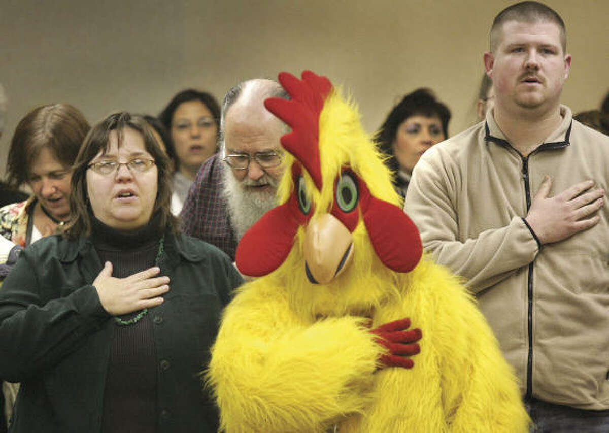 You have to appreciate someone who shows up wearing a chicken suit at a Janesville City Council meeting in February in support of a proposed ordinance change that would allow residents to keep chickens in their back yards. The ordinance change was rejected by the Wisconsin council.