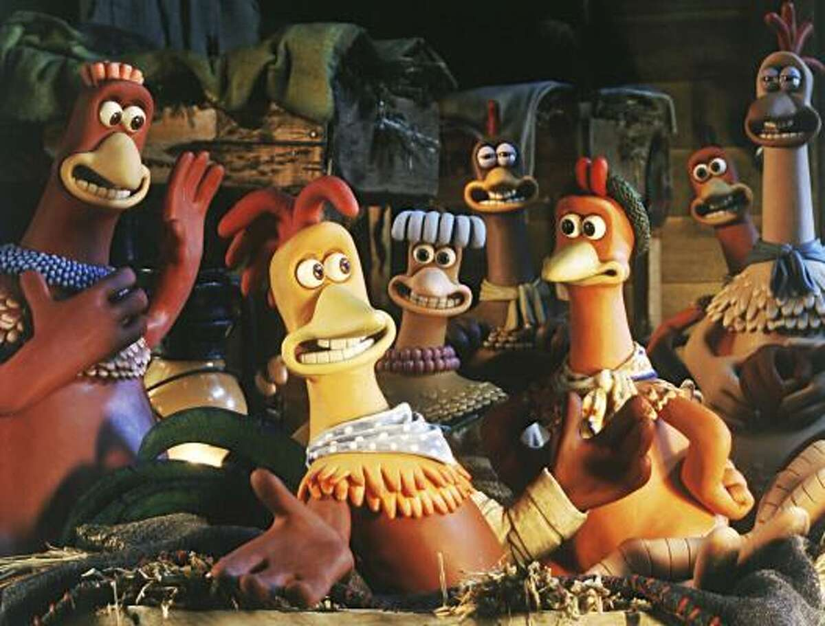 Rocky the rooster, front, is the center of attention at the hen house in a scene from the 2000 clay animation comedy-adventure