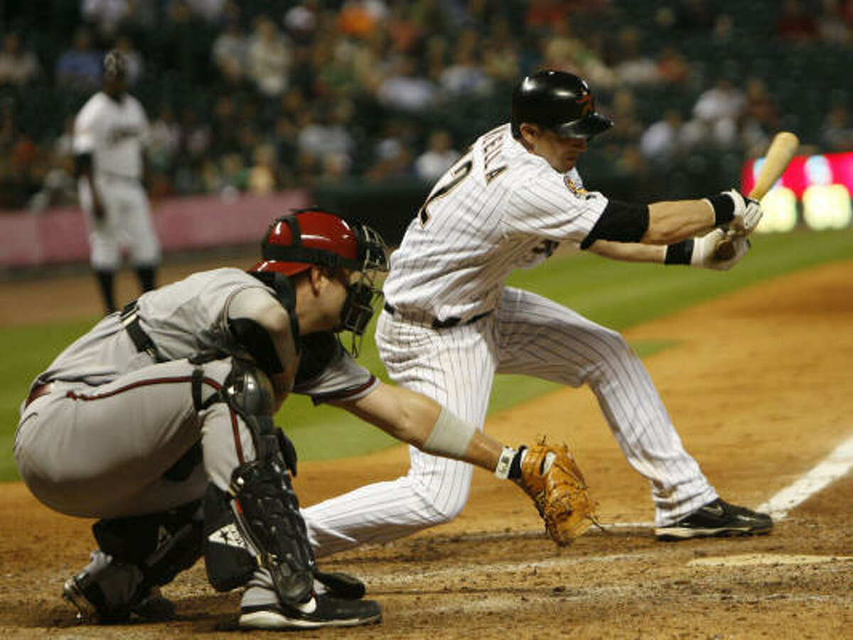 May 6: Diamondbacks 6, Astros 3 Astros shortstop Tommy Manzella strikes out swinging to end the game. Diamondbacks pitcher Dan Haren threw a complete game in the series finale to pick up his fourth win of the season.