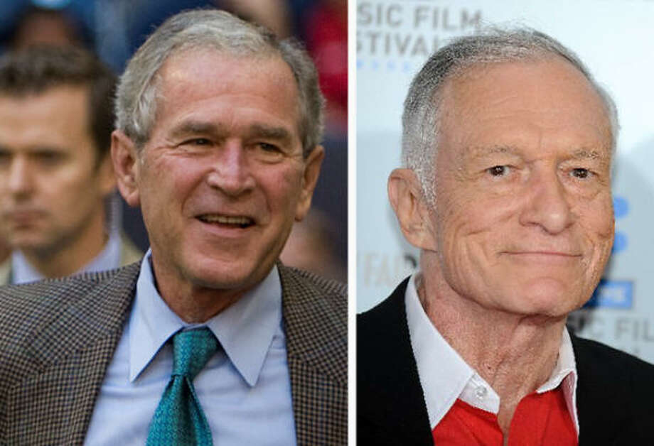 And George Bush and Hugh Hefner are related. According to Forbes magazine, Bush's 10th great-grandfather and Hefner's eighth great-grandfather was Thomas Richards, who died around 1650. Photo: Getty