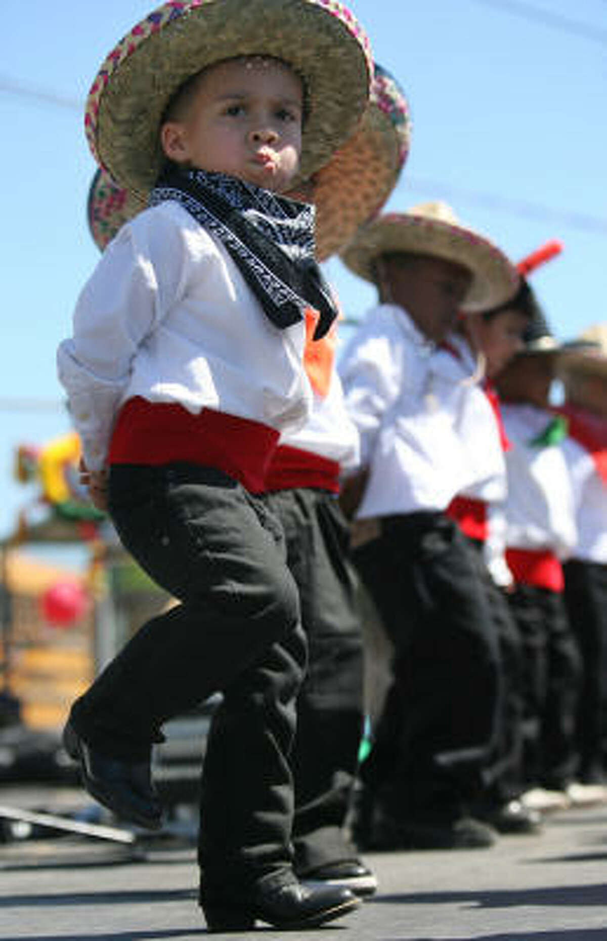 Hayden Alaniz gives his all as he stomps to the beat during the Cinco de Mayo performance.
