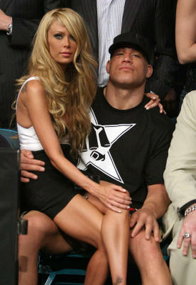 FILE - In this May 24, 2008 file photo, mixed martial arts star Tito Ortiz, right, is seen with Jenna Jameson after his fight at UFC 84 at the MGM Grand Garden Arena in Las Vegas. Ortiz was arrested on suspicion of domestic violence Monday, April 26, 2010, at the home he shares with Jameson. Photo: Eric Jamison, AP