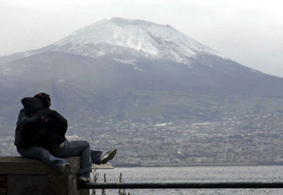 Mount Vesuvius is an active volcano that looms over Naples in southern Italy. Its most notable eruption was in 79 A.D., when it destroyed the Roman cities of Pompeii and Herculaneum. Photo: AP, STR