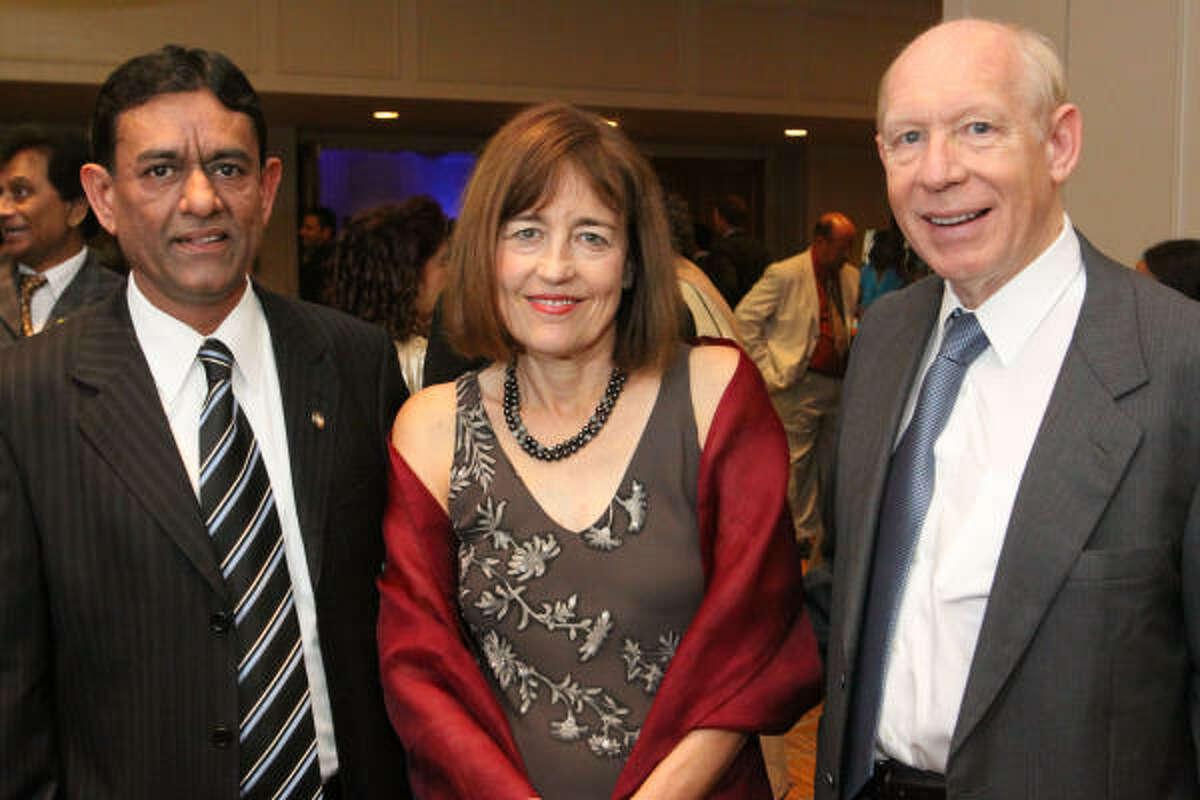 Hasu Patel with Andrea and Bill White