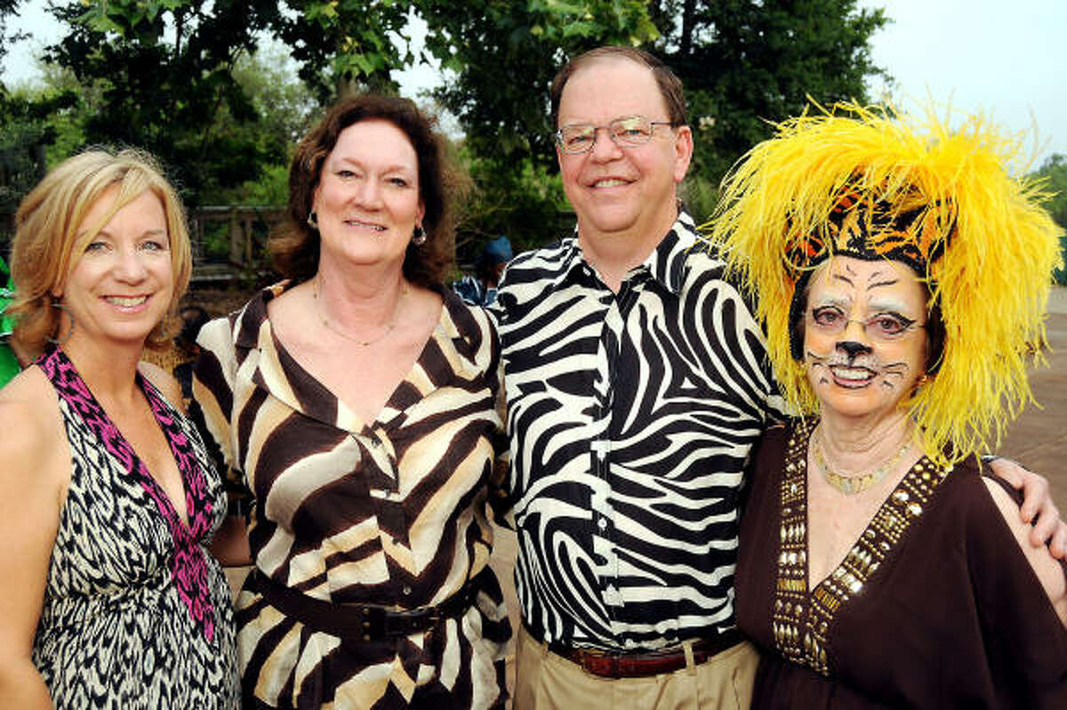 From left: Nancy Pustka, Cynthia Adkins, John Adkins and Jane Block at A Way to Africa, the Zoo Friends of Houston's 22nd Zoo Ball.