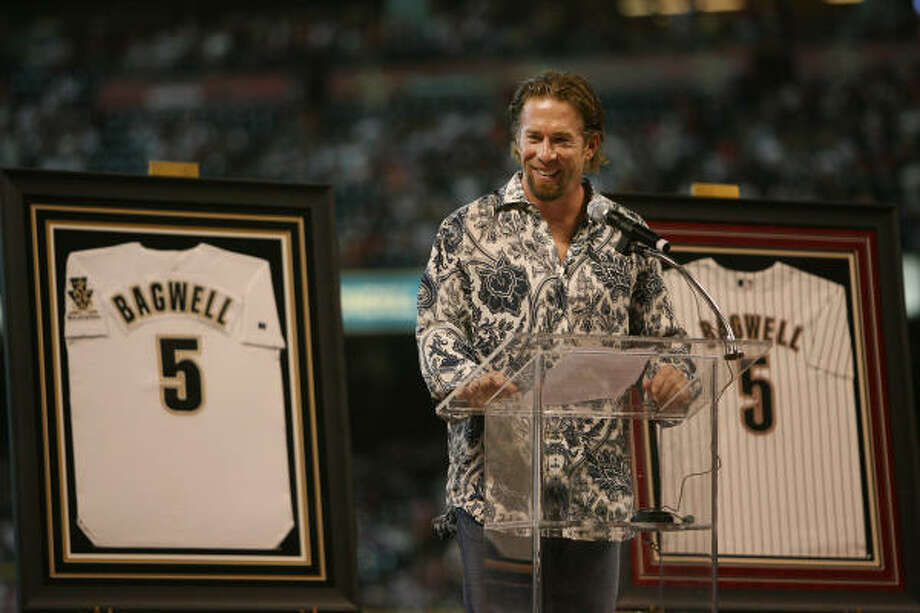 """Jeff BagwellPart of the """"Killer B's,"""" Bagwell played his entire 15-year career with the Astros until an arthritic  shoulder forced him to retire prior to the 2006 season. Bagwell was the 1991 National League Rookie of the Year, 1994 NL MVP and four-time All-Star. He finished his craeer as the franchise leader with 449 home runs. The Astros retired his jersey in 2007. He is eligible for induction into the Baseball Hall of Fame beginning in 2011. Photo: Mayra Beltran, Chronicle"""