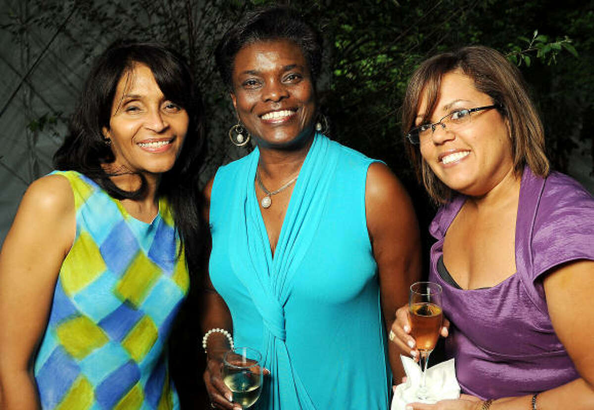 From left: Janette Cosley, Janice Hill and Shari Guidry at the Five-A Spring Party at the Bayou Bend Collection & Gardens.