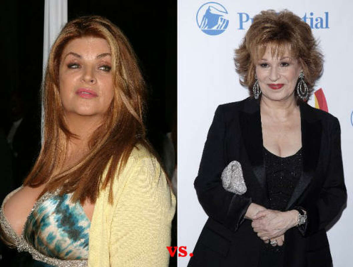 Joy Behar 's, right, opinions of the Tiger Woods scandal just didn't sit well with Kirstie Alley. In a bizarre series of tweets, Alley called Behar names and said she wanted to bash her in the genitalia with her microphone.