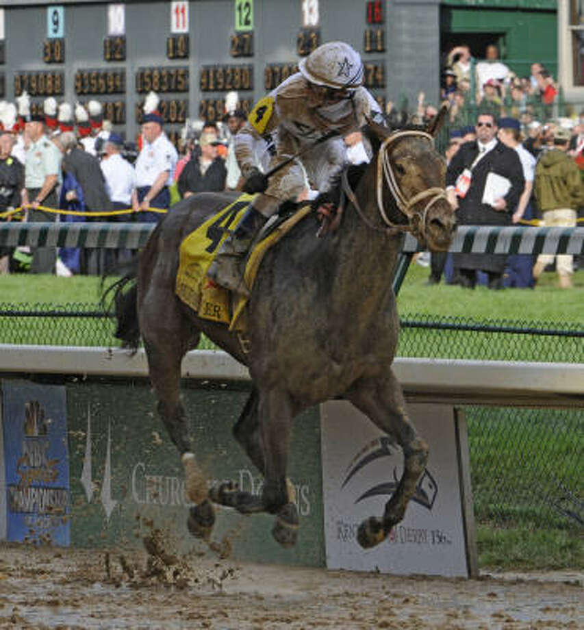 Jockey Calvin Borel rode Super Saver to his third Kentucky Derby win in four years Saturday at Churchill Downs in Louisville, Ky. Photo: Skip Dickstein, TIMES UNION