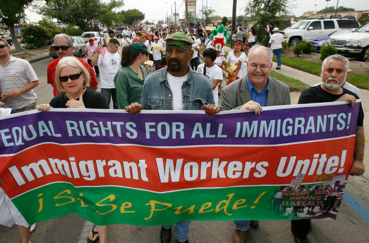 Houston: Civil rights activists lead marchers along Bellaire Boulevard.