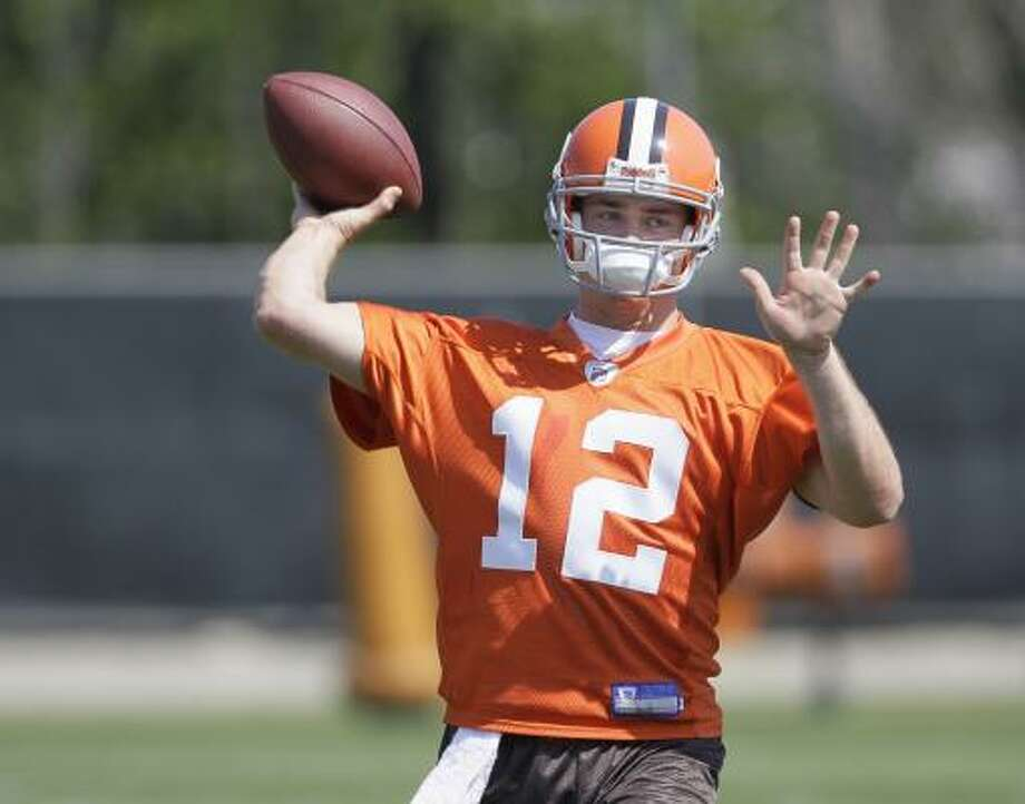 Former Texas quarterback Colt McCoy showcased his arm during the Cleveland Browns' rookie minicamp Friday at the team's training facility in Berea, Ohio. McCoy was a third-round pick in last week's NFL draft. Photo: Amy Sancetta, AP