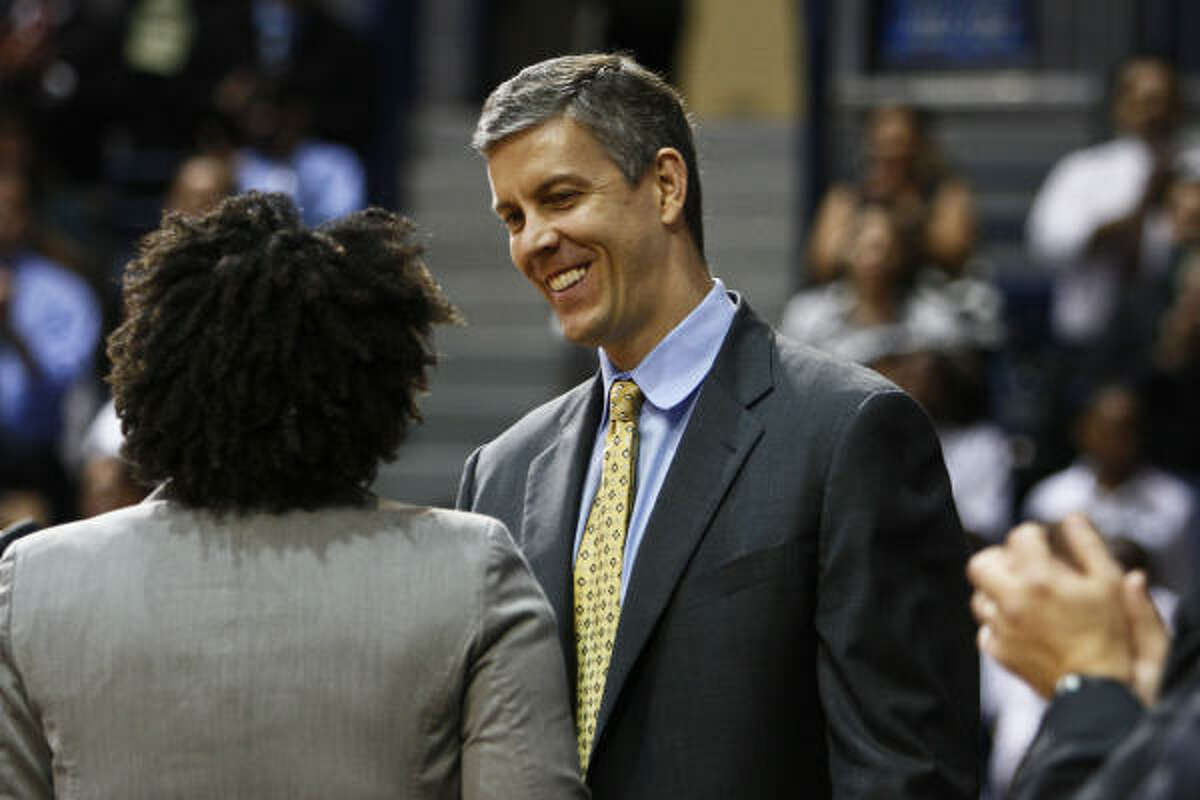 U.S. Education Secretary, Arne Duncan, gives the keynote address at YES Prep charter school's Senior Signing Day, where students declare which colleges they plan to attend during a special program at Rice University's Tudor Fieldhouse.