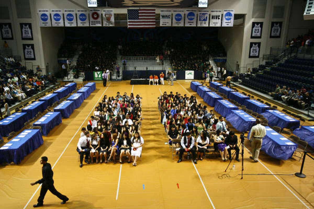 One-hundred and twenty-six high school seniors gather for the YES Prep charter school's Senior Signing Day, where students announce which colleges they plan to attend.