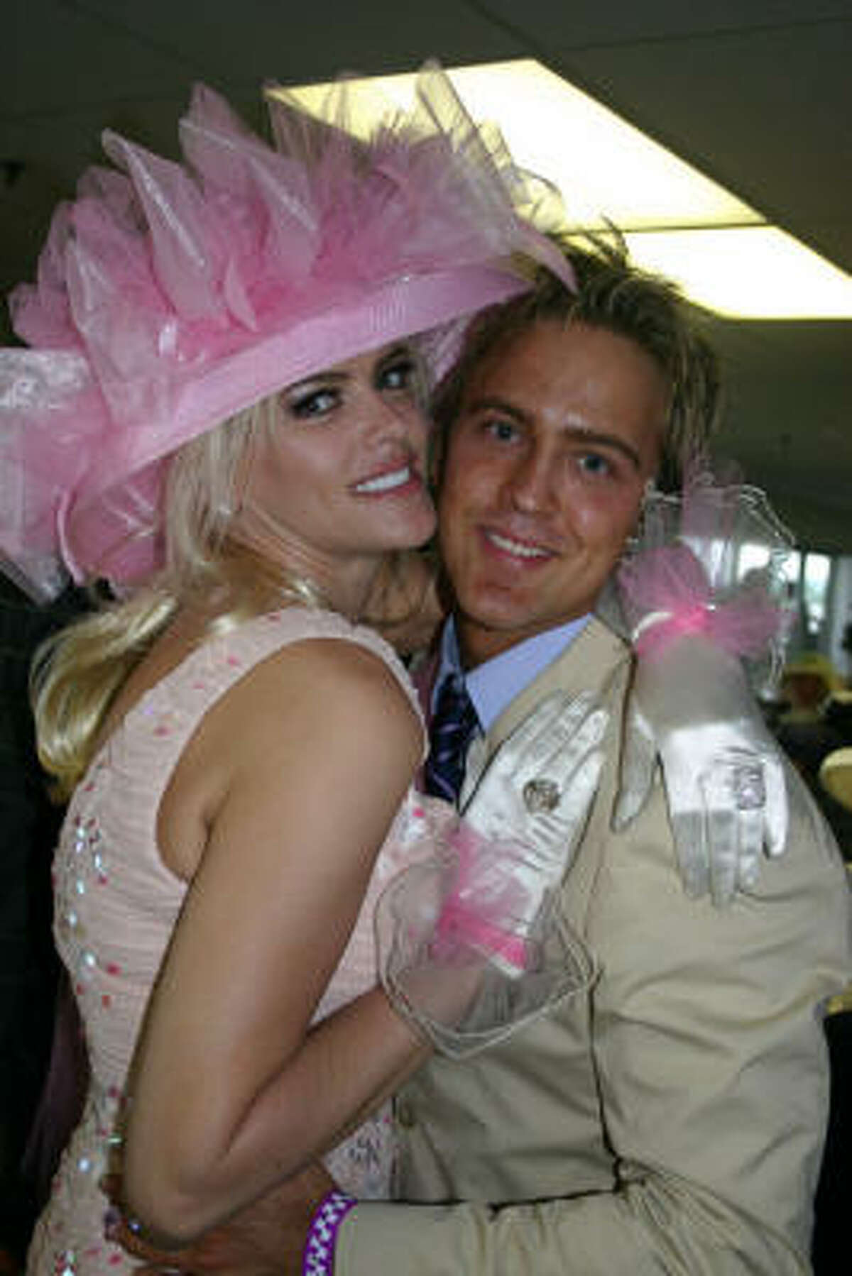 This is the dress Anna Nicole Smith wore to the derby that can now be seen in the Derby museum.
