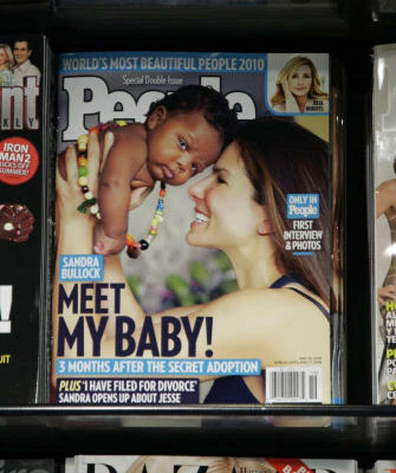 Sandra Bullock announced via People magazine she is adopting a baby boy. Photo: Jeff Christensen, AP