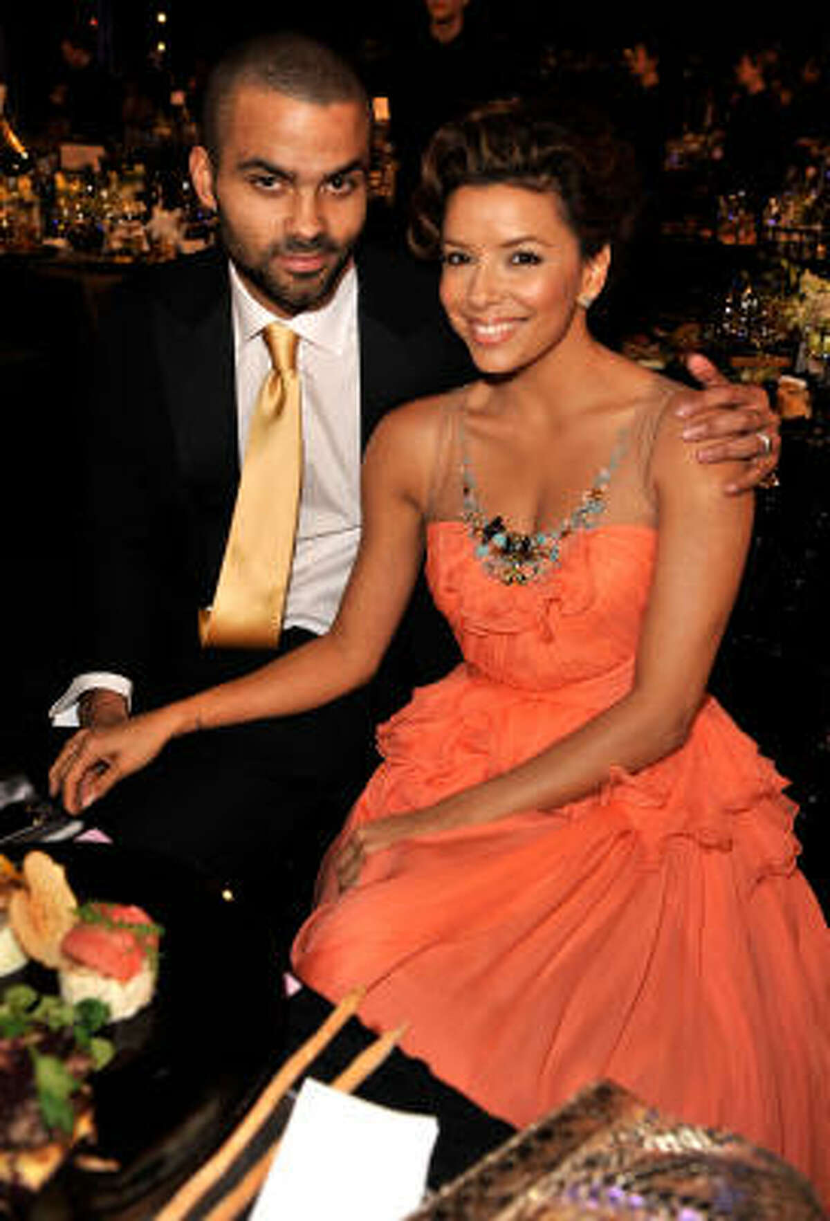 LOS ANGELES, CA - JANUARY 25: Actress Eva Longoria Parker (R) and husband Tony Parker attend the 15th Annual Screen Actors Guild Awards cocktail party held at the Shrine Auditorium on January 25, 2009 in Los Angeles, California.