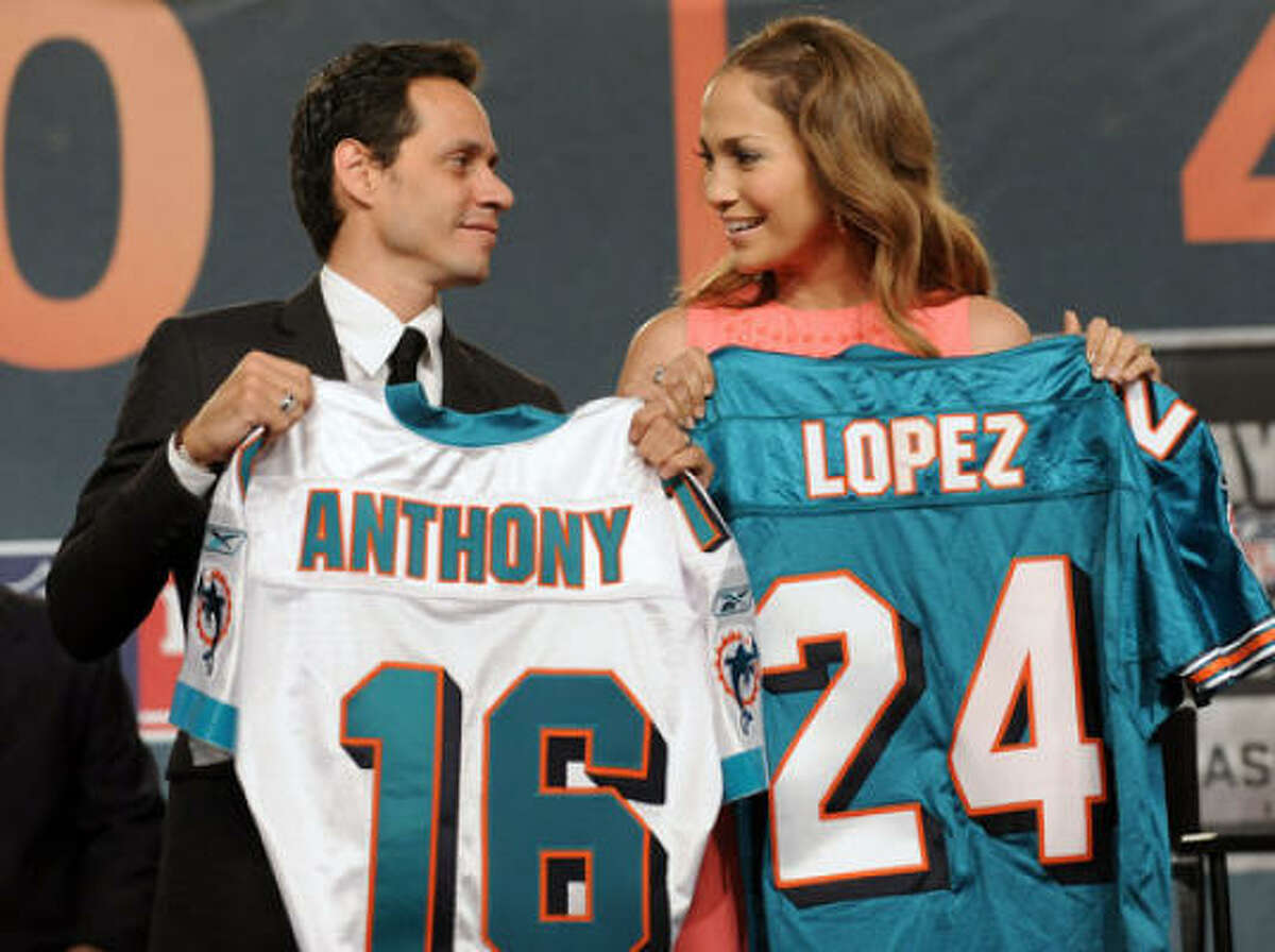 Marc Anthony and Jennifer Lopez Singer Marc Anthony and actress wife Jennifer Lopez are minority owners in the Miami Dolphins.