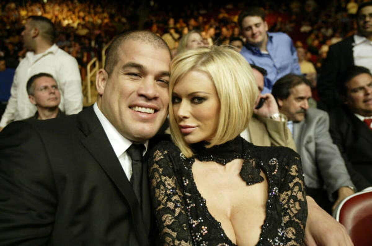 Mixed martial arts fighter Tito Ortiz, left, and former adult film star Jenna Jameson, right, attend Ultimate Fighting Championship (UFC 69 Shootout) on Saturday, April 7, 2007 in downtown Houston.