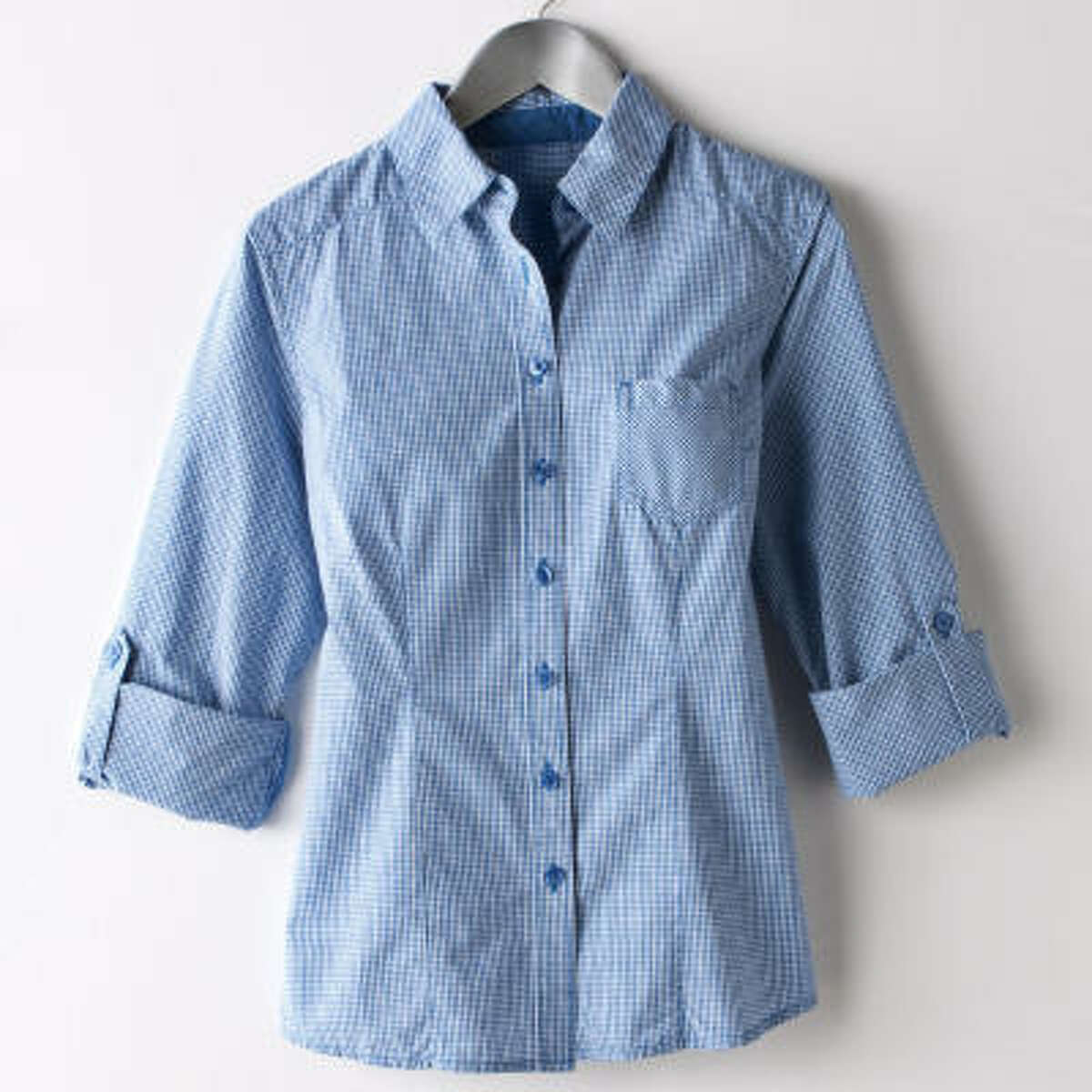 This checkered poplin shirt goes great with khakis or jeans; $30.