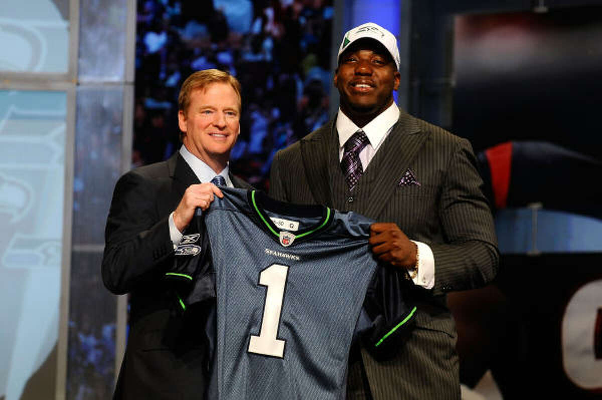 Russell Okung, offensive tackle Selected in first round, sixth pick by the Seahawks Texas tie: Bush High School Okung was a first-team all-district and first-team All-Greater Houston selection as a senior at Bush in 2005. In college, he was a consensus All-American in his senior season playing left tackle for Oklahoma State, and named the Big 12 Offensive Lineman of the Year and was an Outland Trophy finalist.