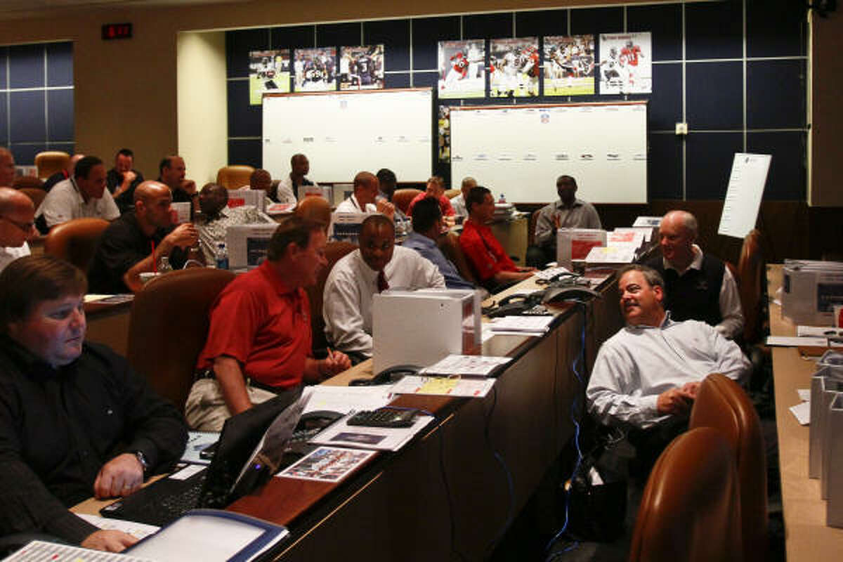 Texans executives in the team's warm room at Reliant Stadium.
