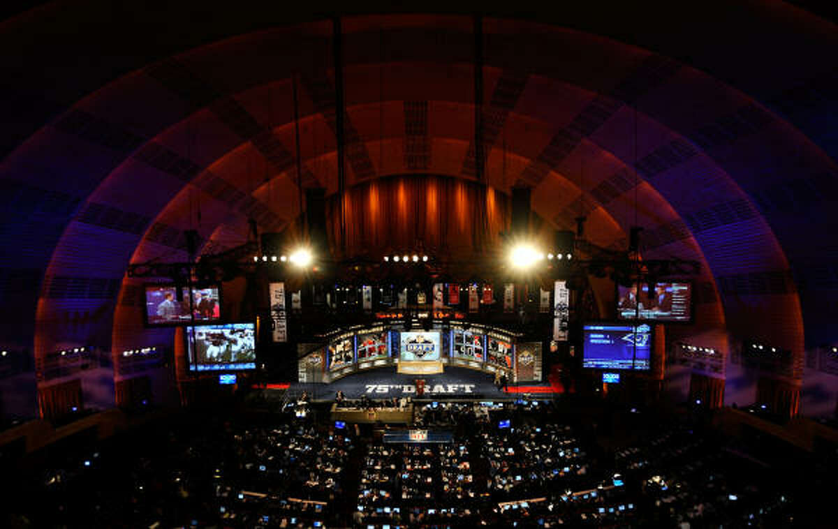 A general view of the stage during the 2010 NFL draft at Radio City Music Hall.