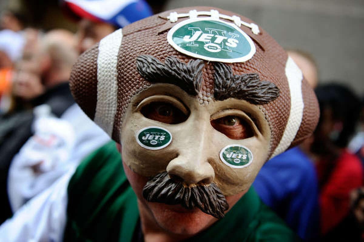 New York Jets fan Joe Legotti attends the 2010 NFL draft.