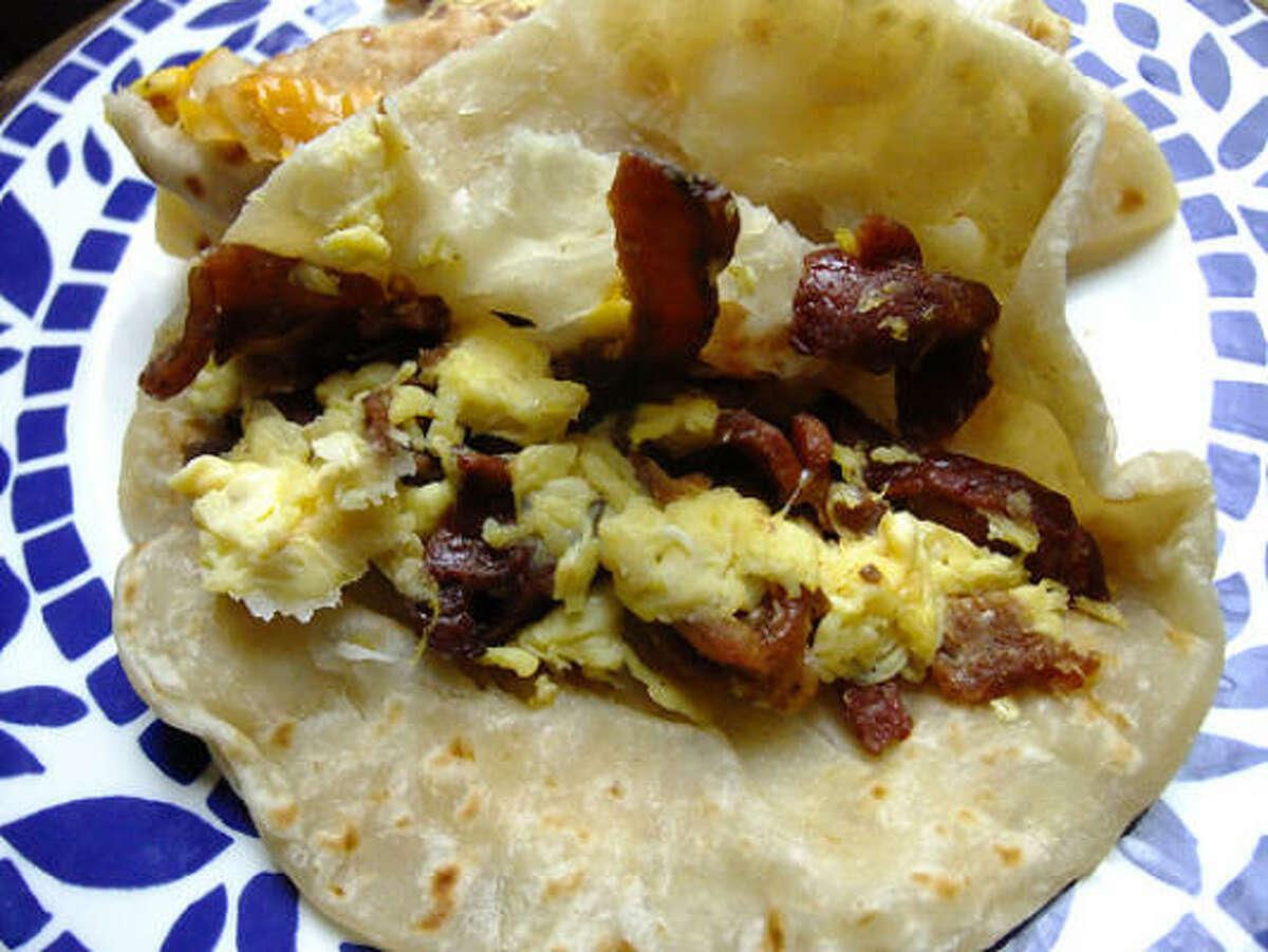 Bacon & egg taco with handmade flour tortilla, Villa Arcos
