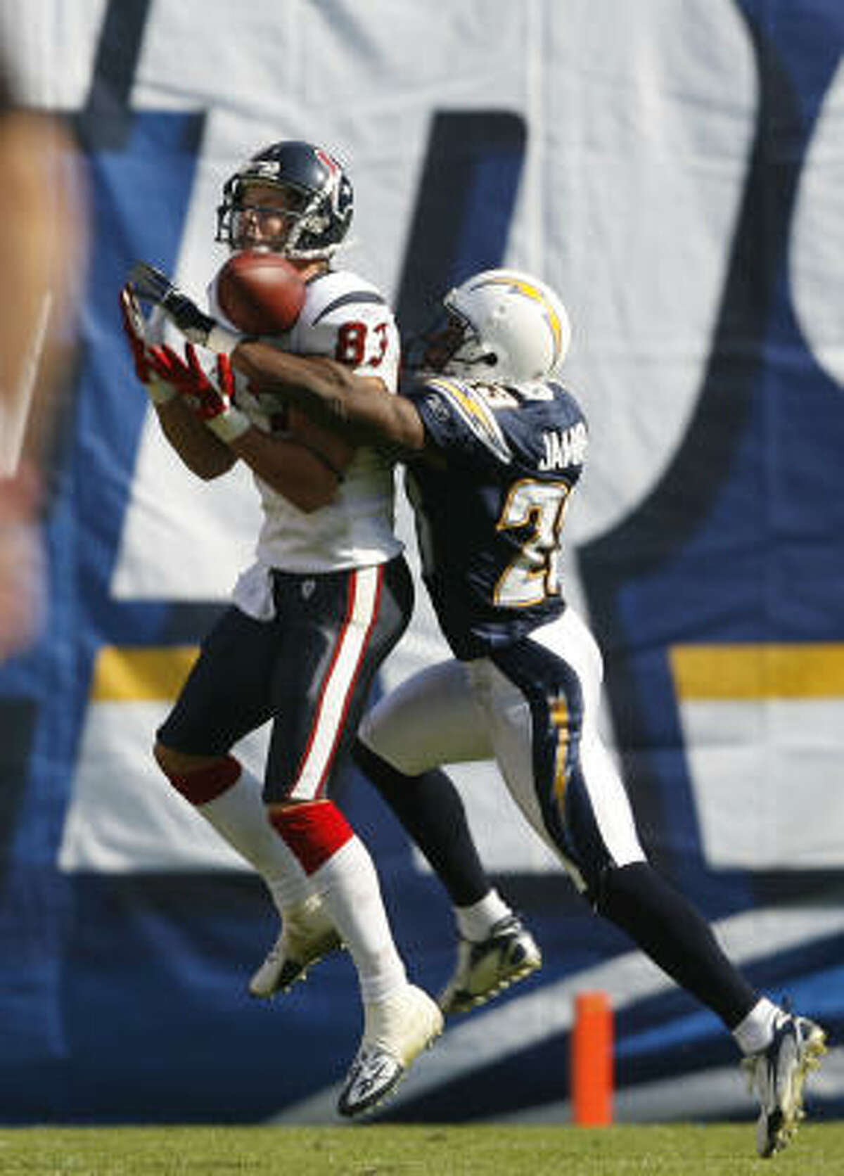 DB Quentin Jammer, No. 5 by San Diego in 2002 Angleton native a cosnsitent starter since his second year with the Chargers and has 16 career interceptions.
