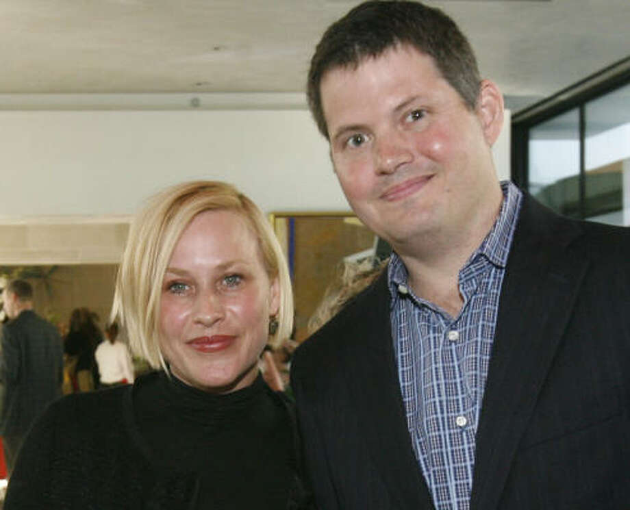 Patricia Arquette and architect Christopher Robertson at  the Arquette's Give Love foundation fundraiser to help displaced Haitians find sustainable shelter. The event was at the home of Carolyn and James Robertson. Photo: Mayra Beltran, Chronicle