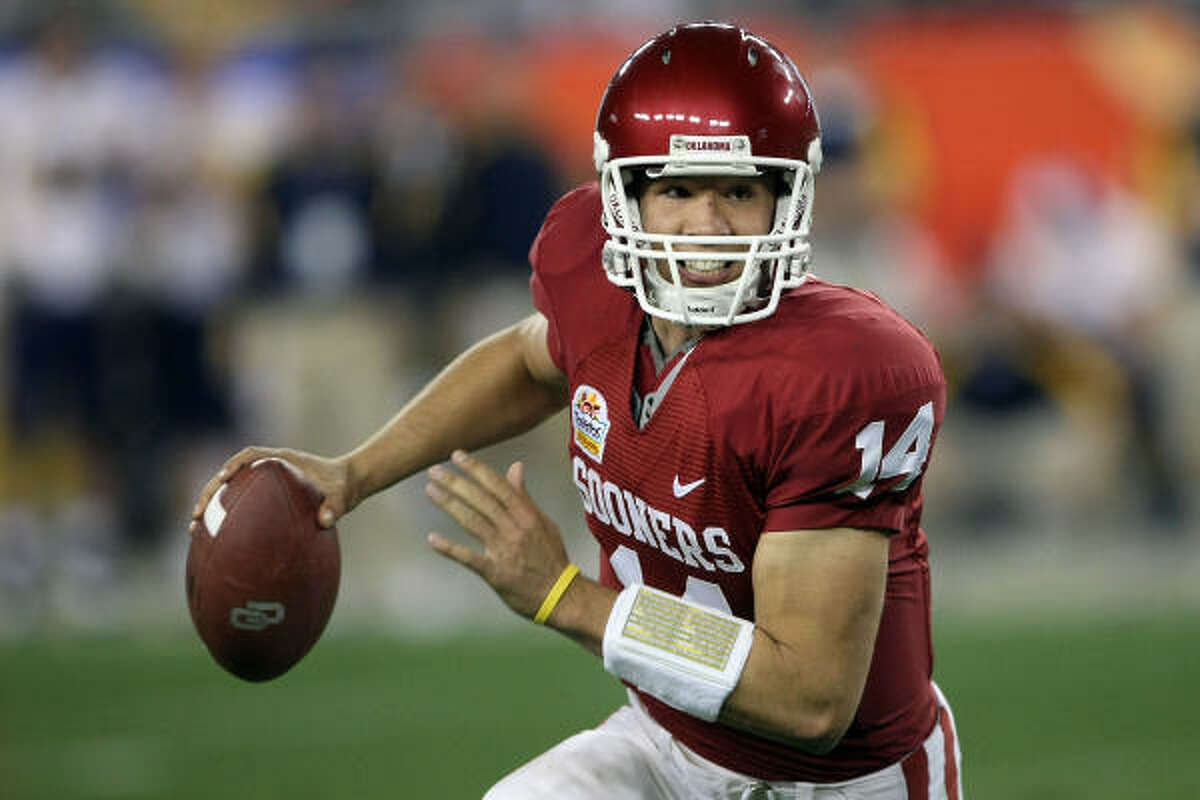 Sam Bradford, 6-5, 236, 4.71, Oklahoma An underclassman who has everything the scouts want in a big-time prospect other than a guarantee he can stay healthy. After suffering two shoulder injuries as a junior last season, some are concerned that health will always be an issue for a player who's about to get more than $40 million guaranteed. Bradford has great size, an outstanding arm, a terrific understanding of the game and uncanny accuracy. He's also a good leader. He'll be the first pick in the draft.