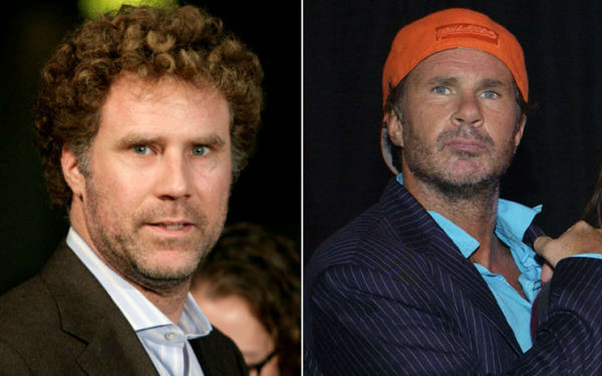 One of these two people is a member of the Red Hot Chili Peppers. The other is an Saturday Night Live alum. At left, Will Ferrell. At right, Chad Smith.