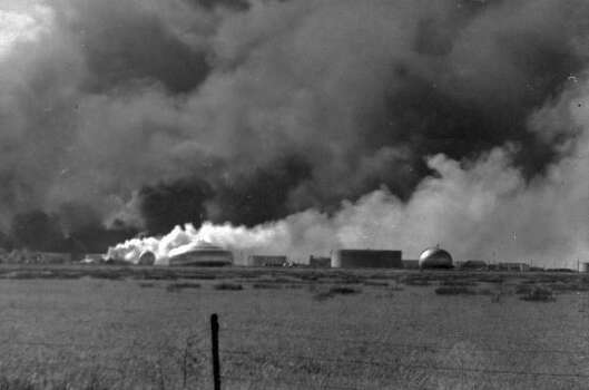 April 16, 1947: Field ablaze following explosion.Read more: Newly discovered photos show extent of destruction Photo: Story Sloane Jr.
