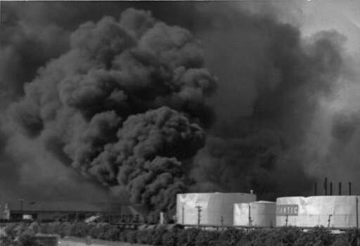 April 16, 1947: Burning tanks, Texas City.Read more: Newly discovered photos show extent of destruction Photo: Story Sloane Jr.